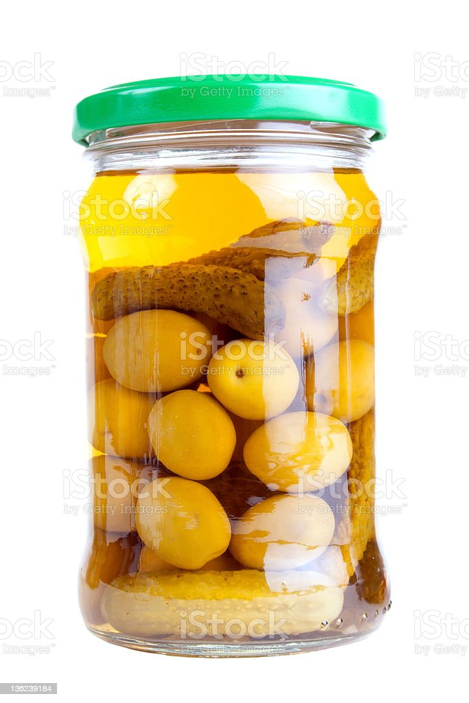Jar of preserved vegetables royalty-free stock photo
