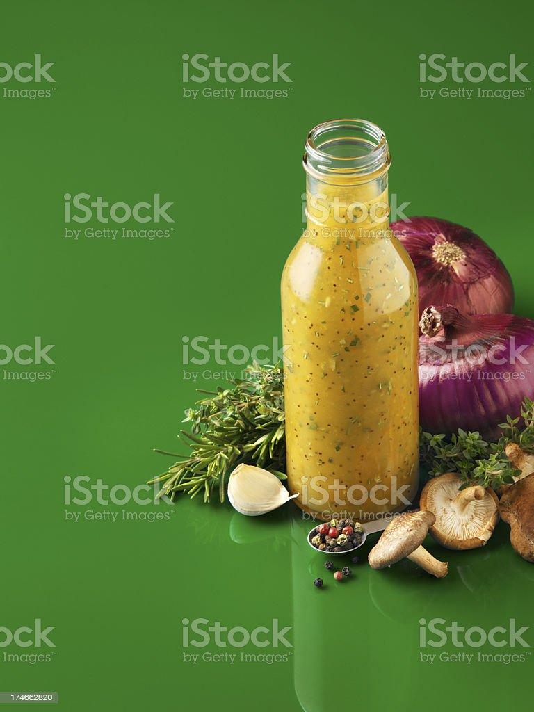 Jar of salad dressing royalty-free stock photo