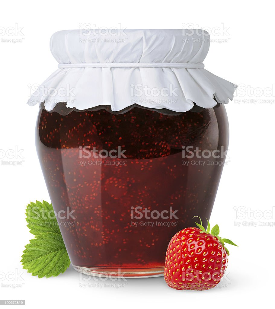 A jar of strawberry jam and a strawberry royalty-free stock photo