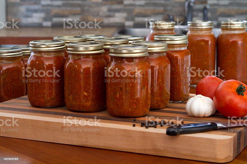 Jar spaghetti sauce stock photo
