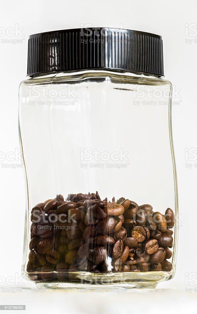 Jar with coffee grains stock photo