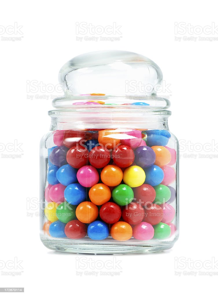 Jar with gum balls royalty-free stock photo