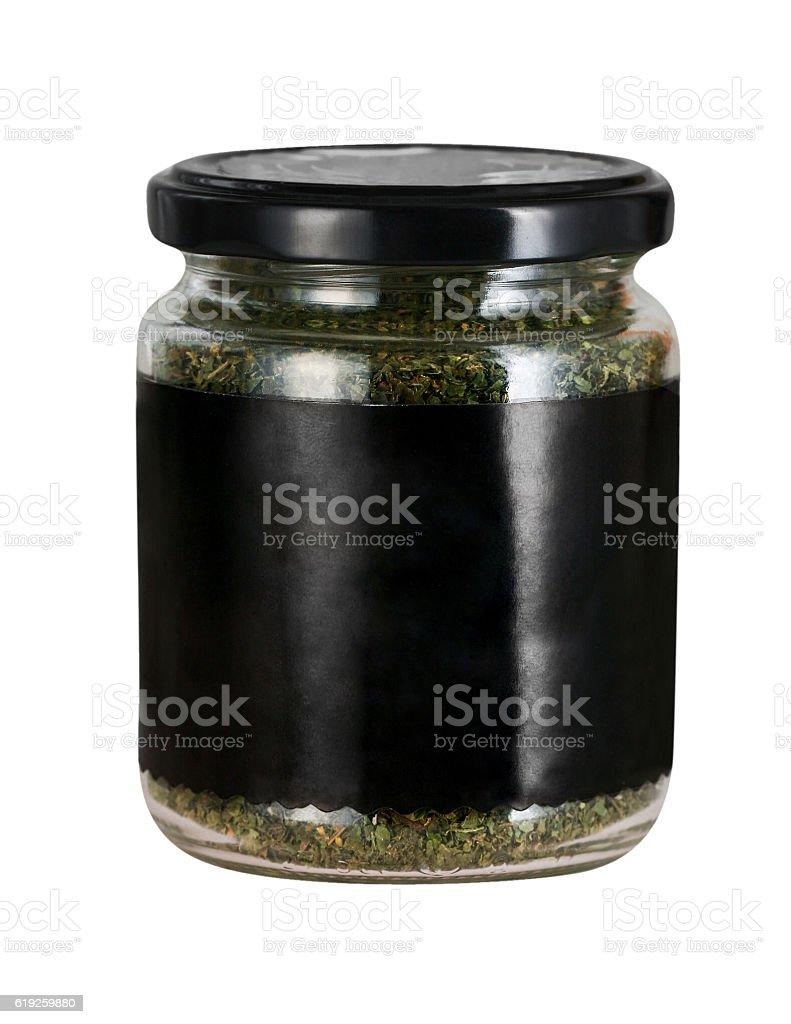 Jar with herbs stock photo
