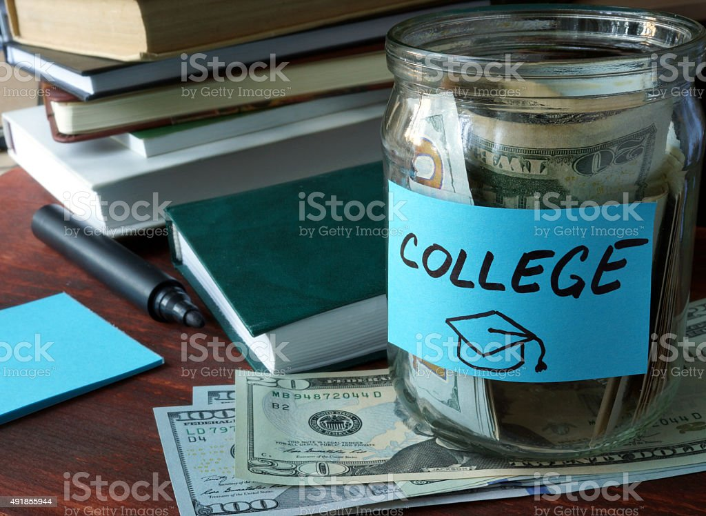 Jar with label college and money. stock photo