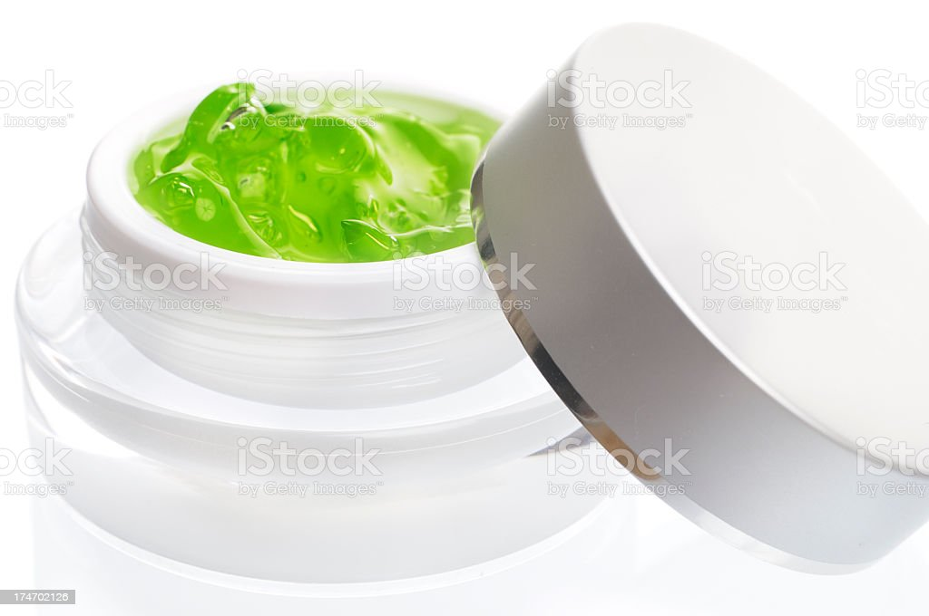 Jar with Lid containing Facial Gel royalty-free stock photo