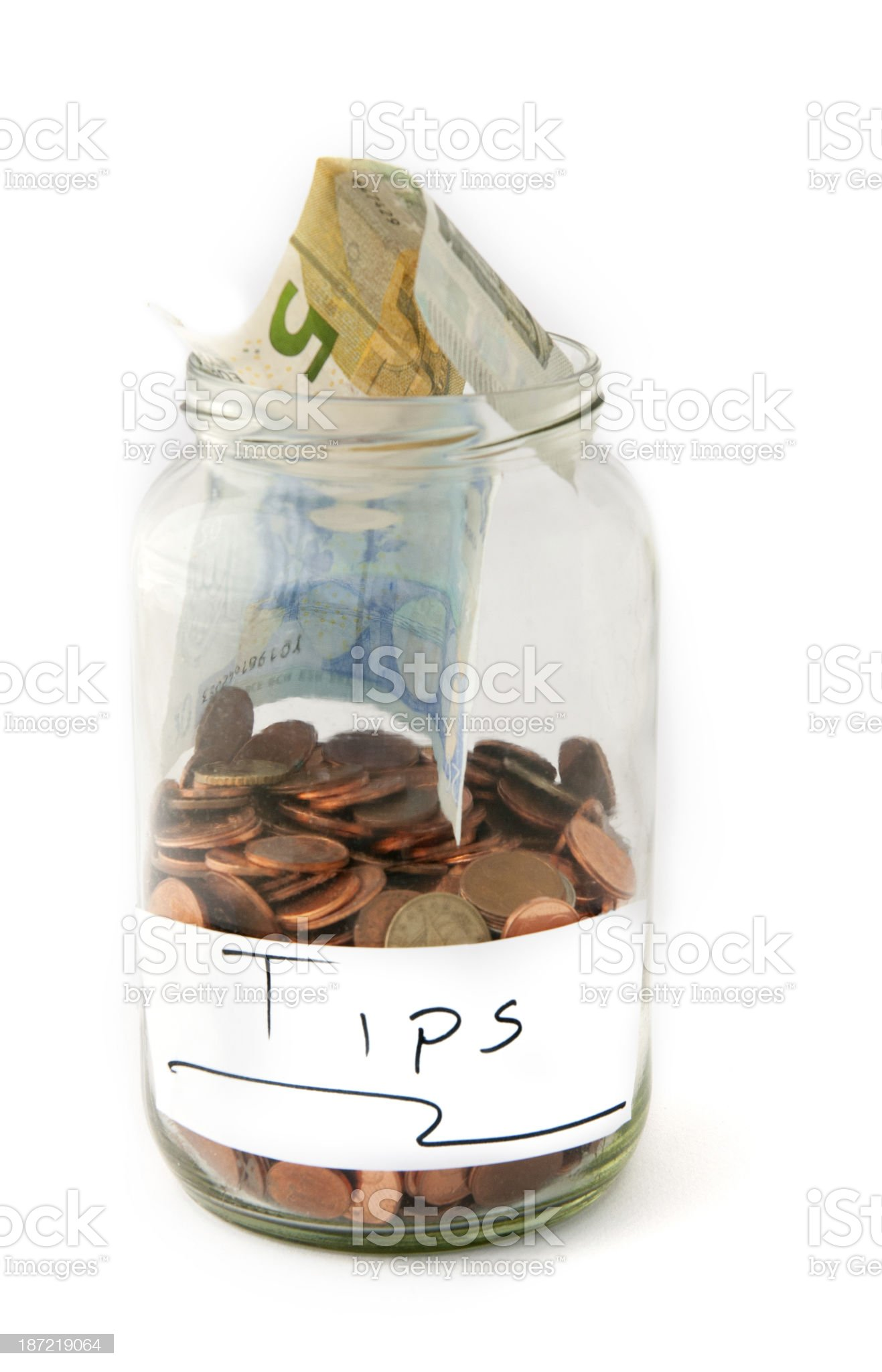 Jar with money for tips royalty-free stock photo