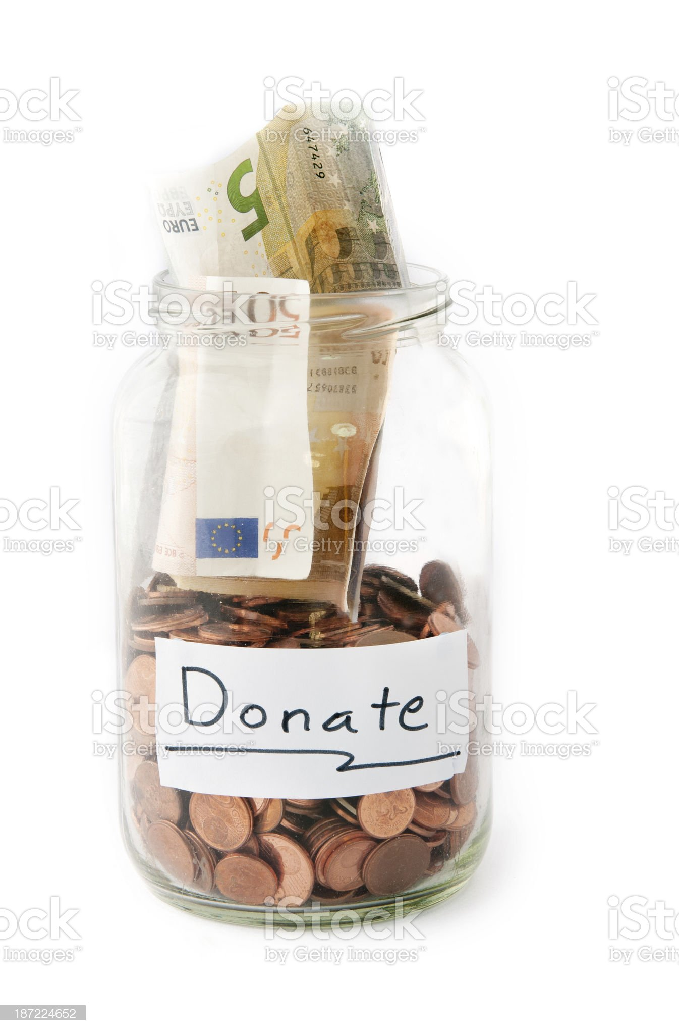 Jar with money from Donation royalty-free stock photo
