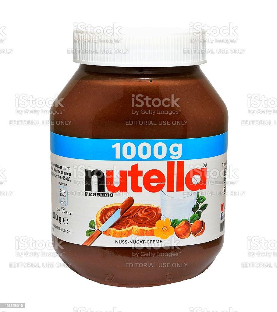 Jar with Nutella hazelnut spread stock photo