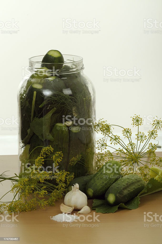 Jar with pickled cucumbers stock photo
