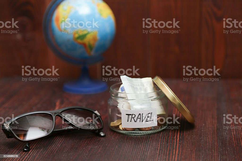 Jar With Savings For Travel Brown Sunglasses Globe At Background – Map World Jar