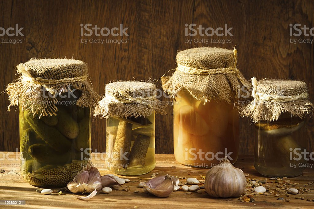 Jar with vegetables and mushroom in basement royalty-free stock photo