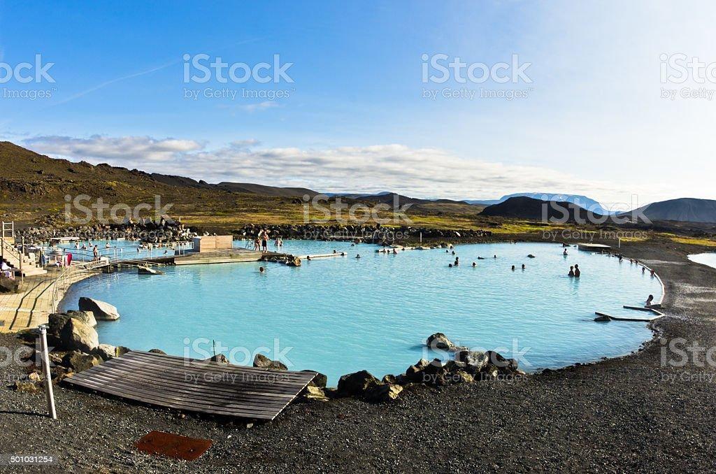 Jardbodin natural baths with geothermal spring near lake Myvatn stock photo