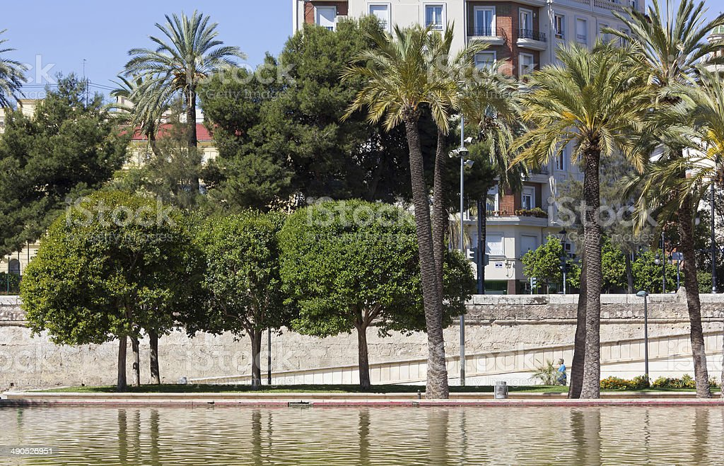 Jardin del Turia Park in Valencia stock photo