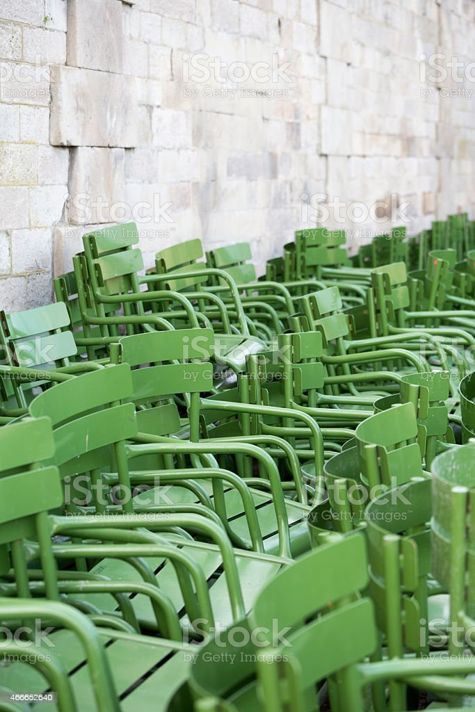 Jardin des Tuileries Garden Stacked Green Chairs, Paris France stock photo