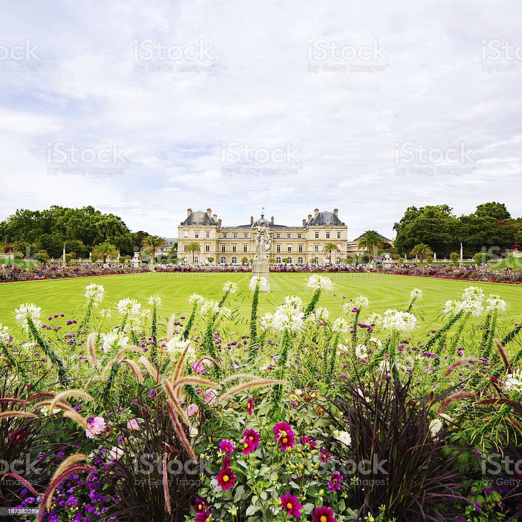 Jardin du Luxembourg flowers lawn and French Senate royalty-free stock photo