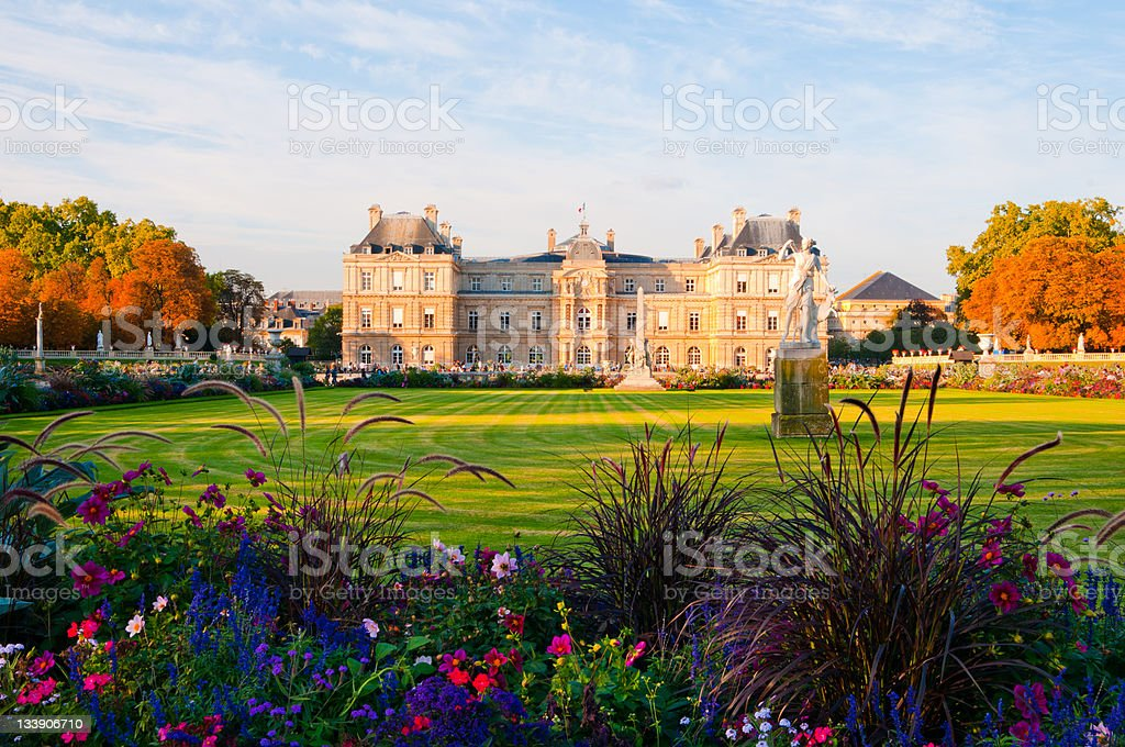Jardin du Luxembourg with the Palace and statue. stock photo