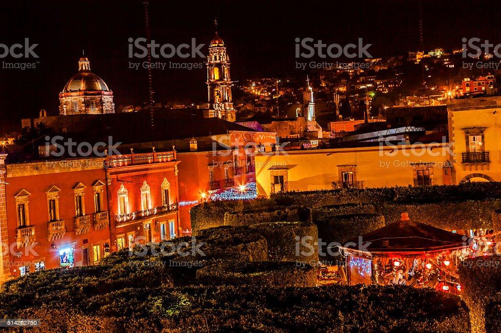 Jardin Square Night Stars Churches San Miguel de Allende Mexico stock photo