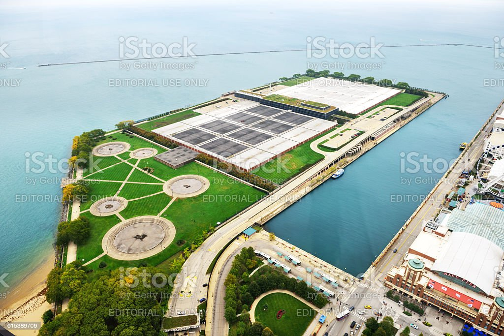 Jardine Water Purification Plant from above, Chicago stock photo