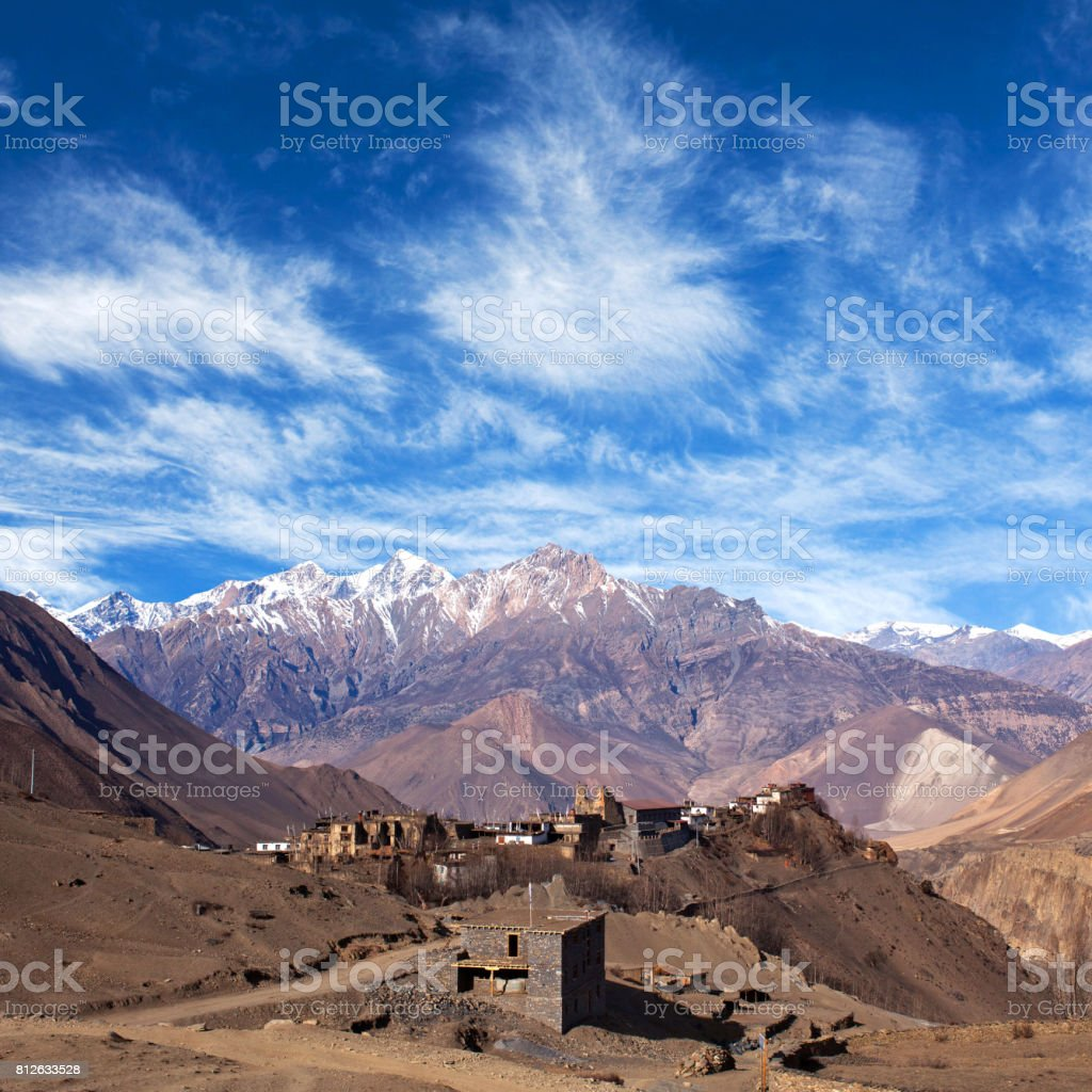 Jarkot village on Annapurna Circuit Trek, Nepal stock photo