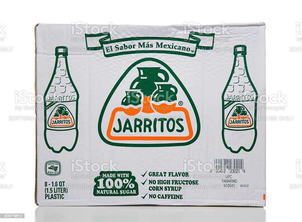Jarritos 8 mexican soda bottles cardboard box stock photo