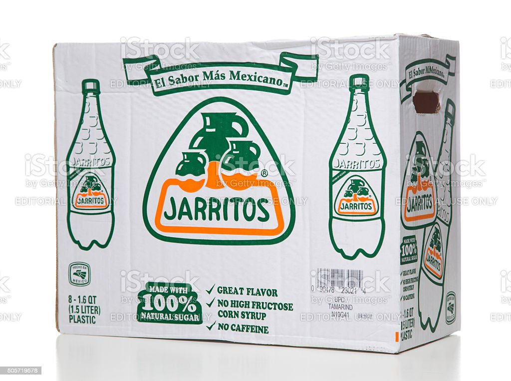 Jarritos 8 mexican soda bottles cardboard packaging box stock photo