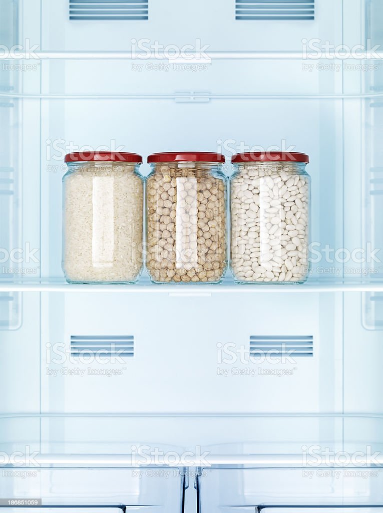 Jars full of pulse in the refrigerator royalty-free stock photo