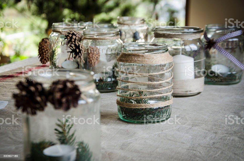 jars handmade lanterns stock photo