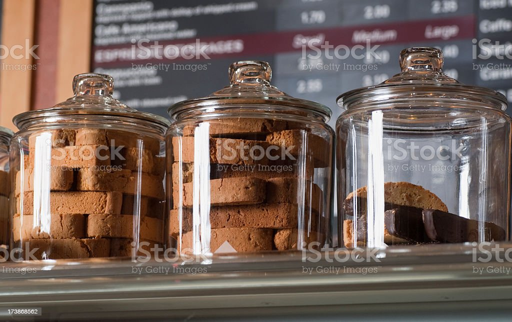 Jars of Biscotti in a Coffee Shop royalty-free stock photo