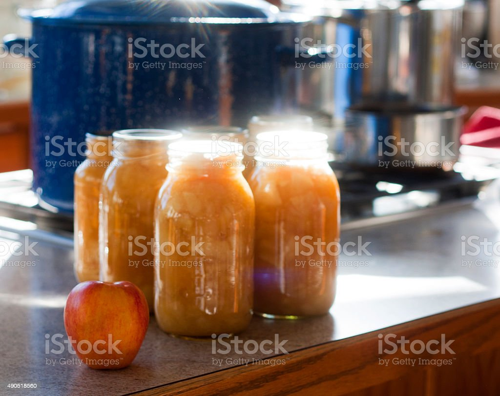 Jars of Homemade Applesauce stock photo