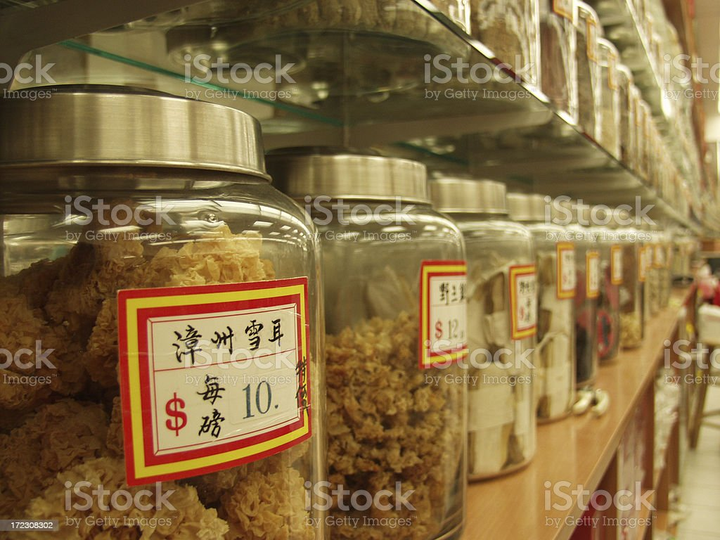 Jars of ingredients for traditional Chinese medicine royalty-free stock photo