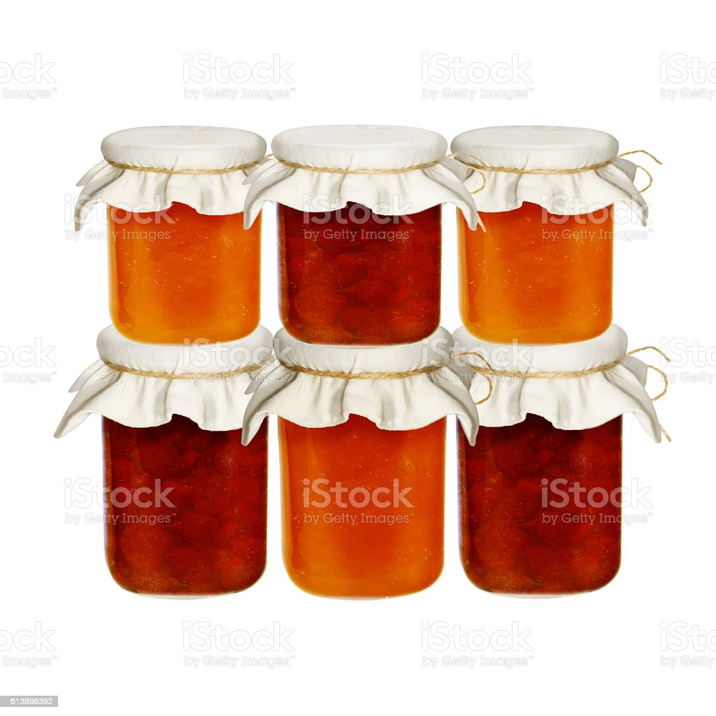 Jars of jam isolated on a white background. from fruits stock photo