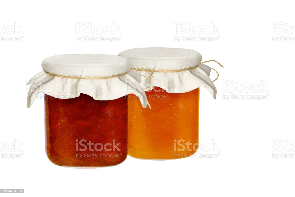 Jars of jam isolated on a white background stock photo