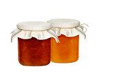 Jars of jam isolated on a white background