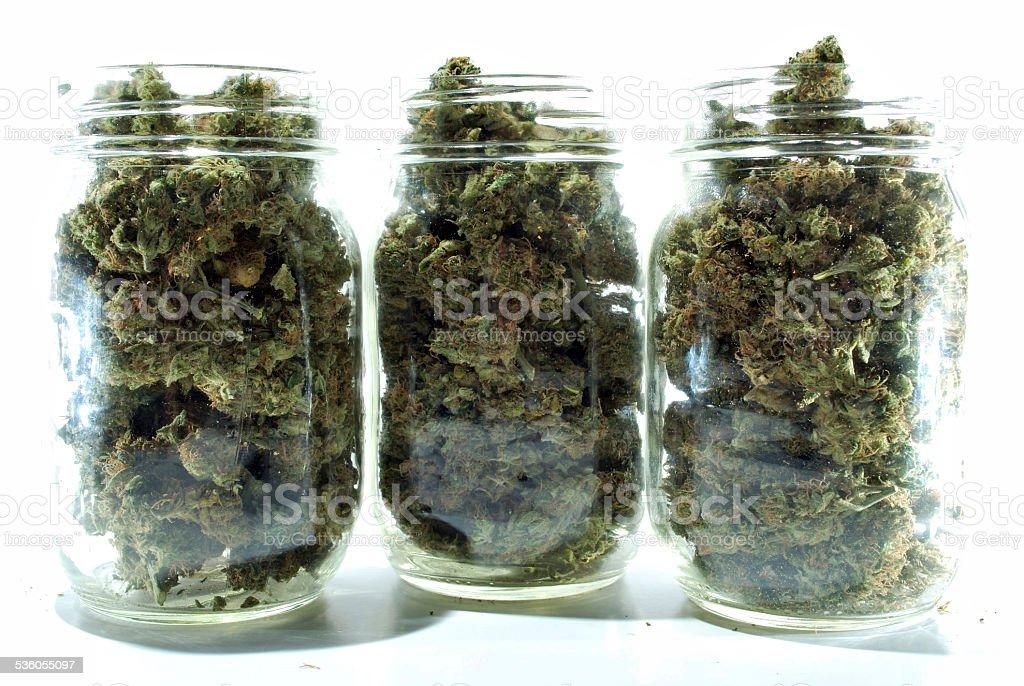 Jars of Medical Marijuana stock photo
