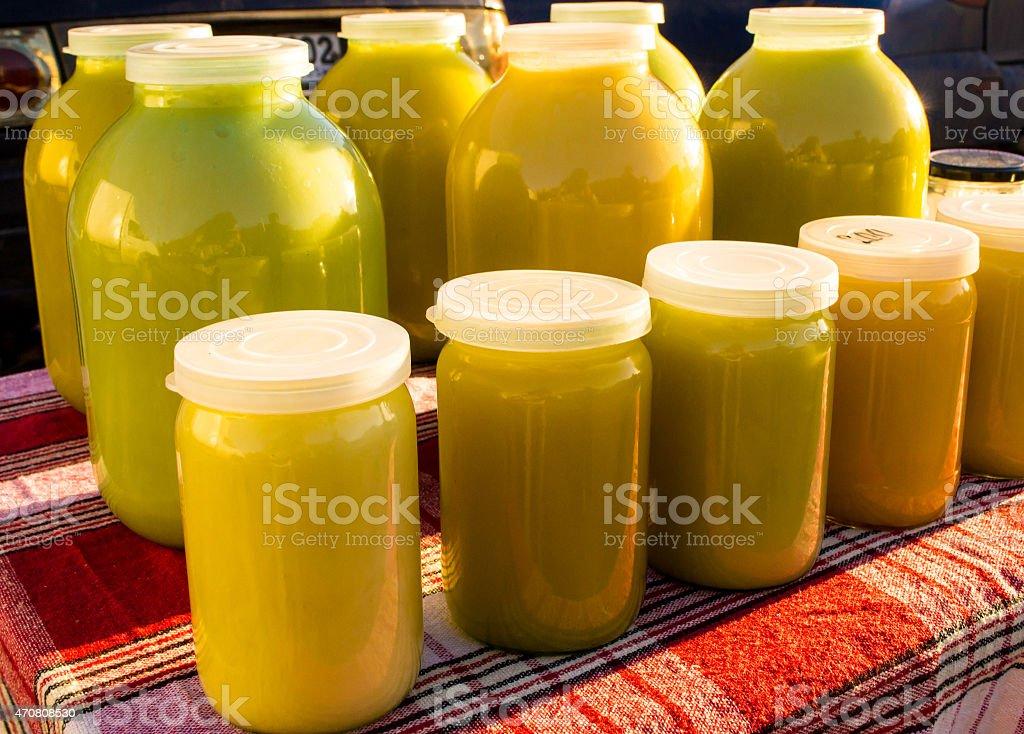 Jars of Organic Honey stock photo