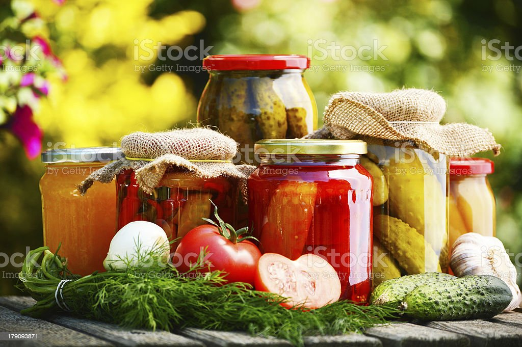 Jars of pickled vegetables in the garden royalty-free stock photo