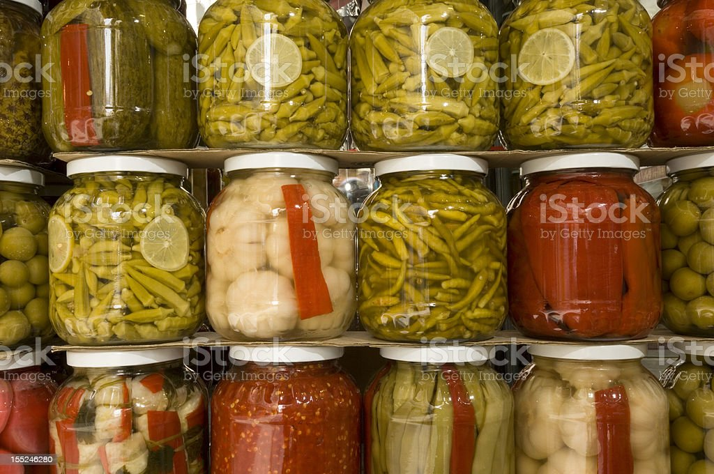 Jars of pickles royalty-free stock photo