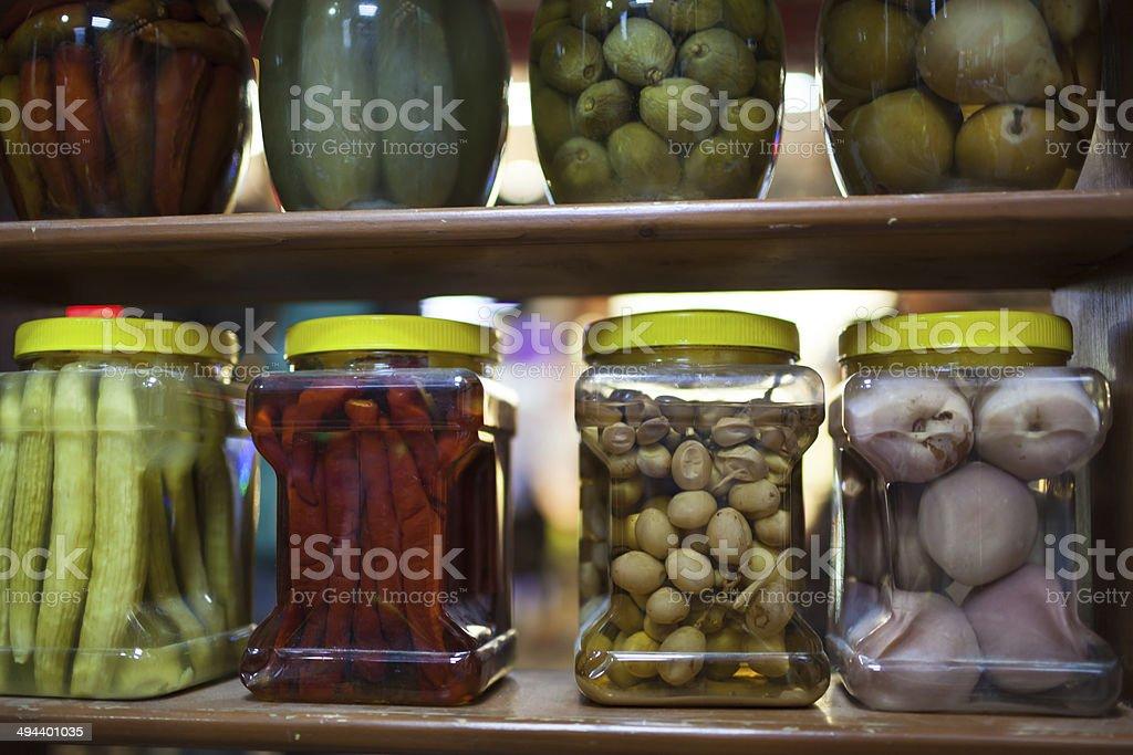 Jars of pickles stock photo