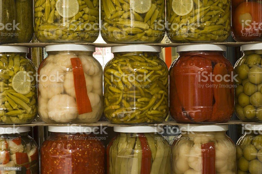 Jars of pickles, Turkey stock photo