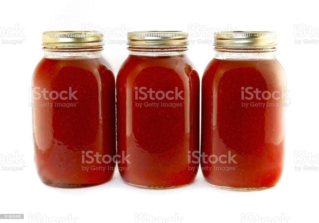 jars of tomato sauce stock photo