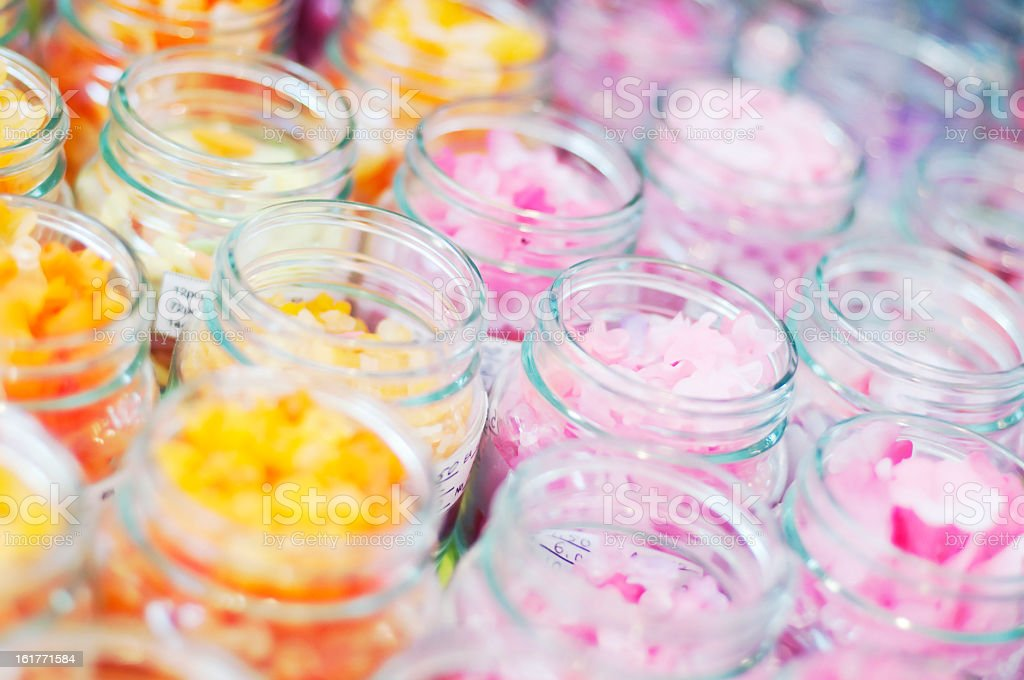 Jars with beads royalty-free stock photo