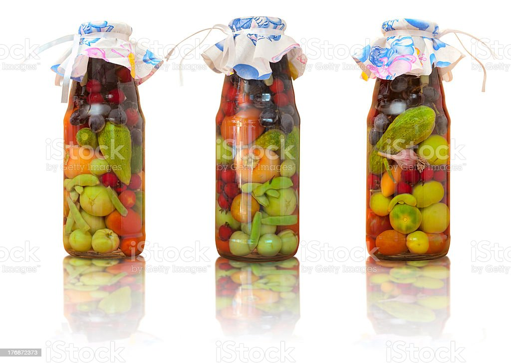 Jars with conserved vegetables for kitchen decoration stock photo