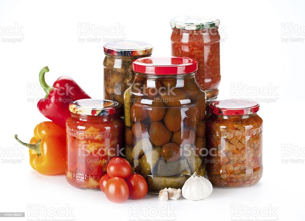 jars with different kind of pickles, home made stock photo
