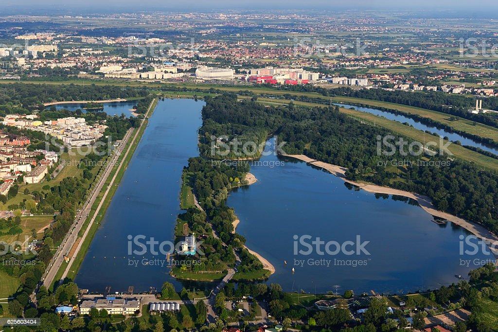 Jarun lake, aerial view stock photo