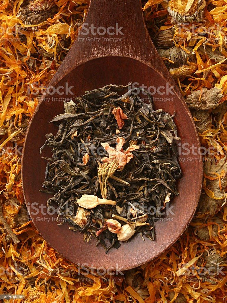 Jasmine and marigold teas stock photo