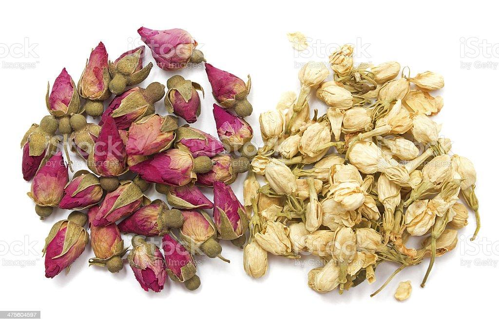 Jasmine and rose dry buds stock photo
