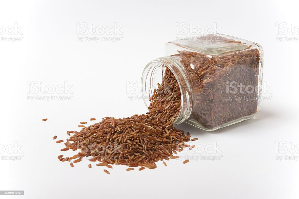 Jasmine Brown Rice in a glass jar royalty-free stock photo
