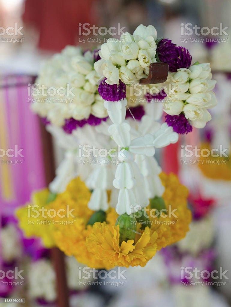 jasmine garland with marigold in market, Thailand royalty-free stock photo