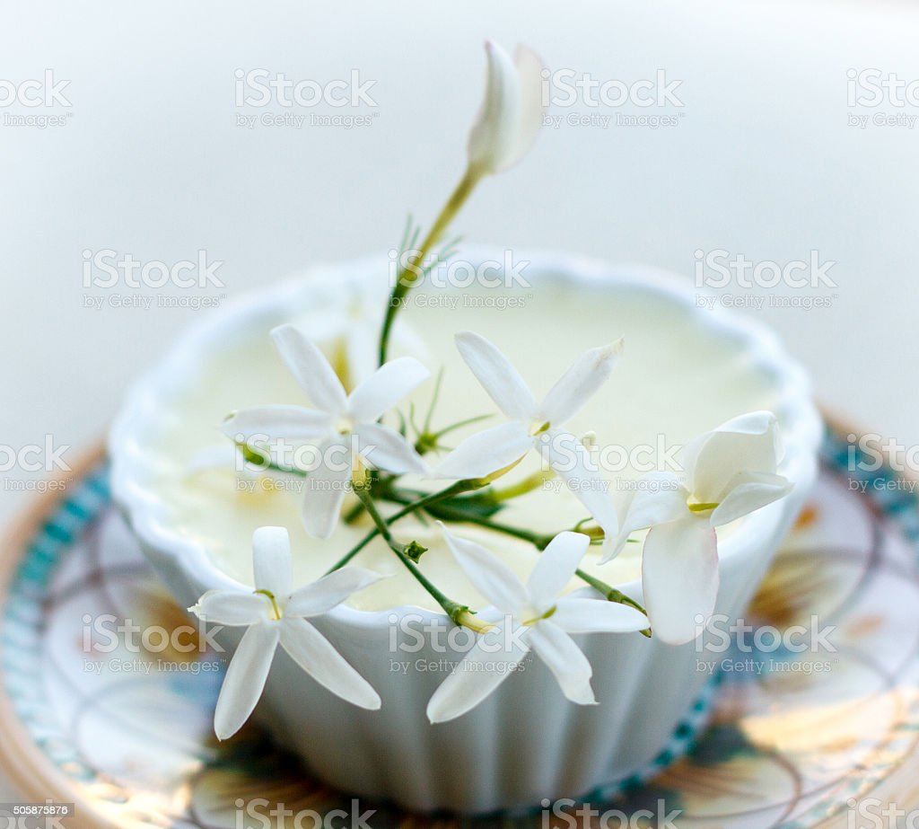 Jasmine Pudding, Decorated with Blossoms. stock photo