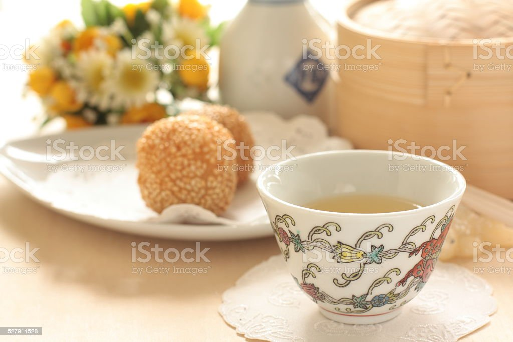 Jasmine tea and dumpling stock photo